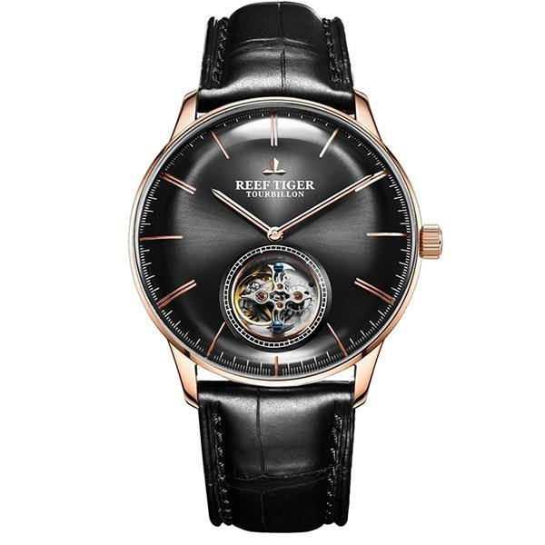 Reef Tiger/RT Men Luxury Brand Tourbillon Watch Blue Rose Gold Automatic Watches Genuine Leather Strap relogio masculine RGA1930 - jewelrycafee