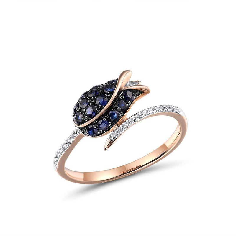 Pure 14K 585 Rose Gold Ring For Women Ring shining Diamond Blue Sapphire Luxury Wedding Engagement Elegant Fine Jewelry