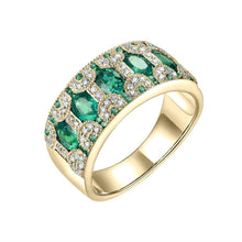 Load image into Gallery viewer, 18KT Yellow Gold Natural 1.5Ct Emerald Ruby Sapphire Genuine Diamonds Party Anniversary Ring Bands Gift Jewelry