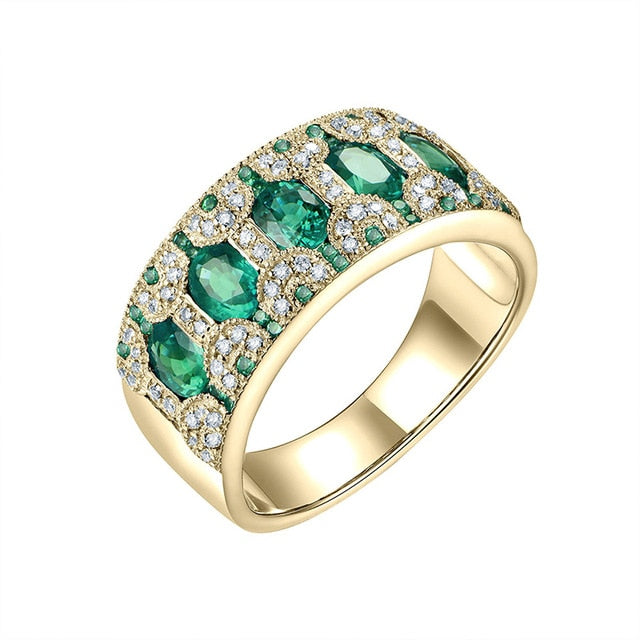 18KT Yellow Gold Natural 1.5Ct Emerald Ruby Sapphire Genuine Diamonds Party Anniversary Ring Bands Gift Jewelry