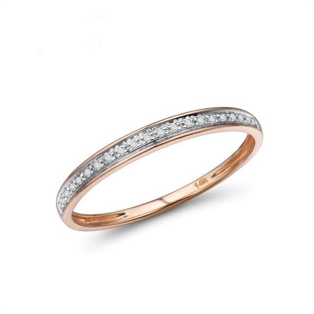 VISTOSO Genuine 14K White/Yellow/Rose Gold Rings For Lady Shiny Diamond Engagement Anniversary Simple Style Eternal Fine Jewelry - jewelrycafee