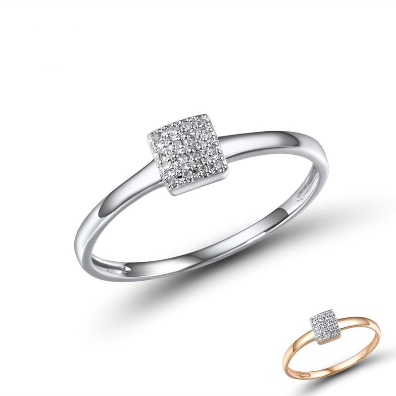 Pure 14K 585 Rose White Gold Sparkling Diamond Delicate Square Ring For Women Anniversary Engagement Trendy Fine Jewelry