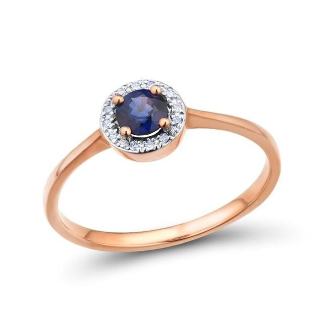 Gold Rings For Women Pure 14K 585 Rose Gold Ring Sparkling Diamond Round Blue Sapphire Luxury Wedding Band Fine Jewelry