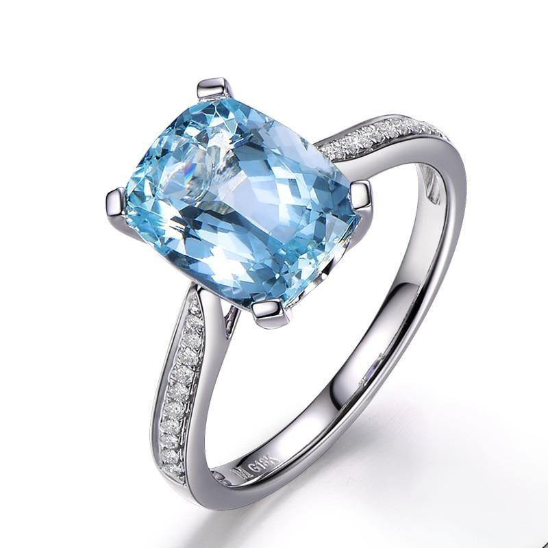 ML Natural Aquamarine 18K Pure Gold 2020 New Hot Selling Top Ring Women Heart Shape Ring  For Ladies  Woman Genuine Jewelry - jewelrycafee