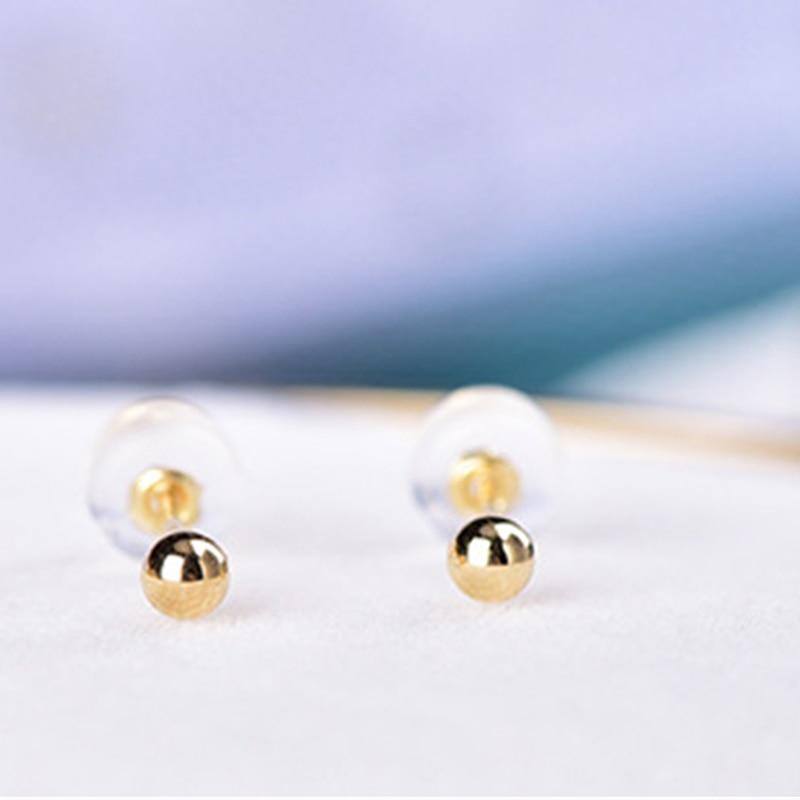 New Arrival 18K Yellow Gold Earrings AU750 Gold Smooth 2mm Ball Stud Earrings