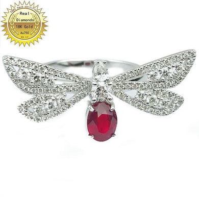 18k gold ring Natural Real Ruby  Diamond Ring Engagement&Wedding Jewellery have certificate 0031 - jewelrycafee