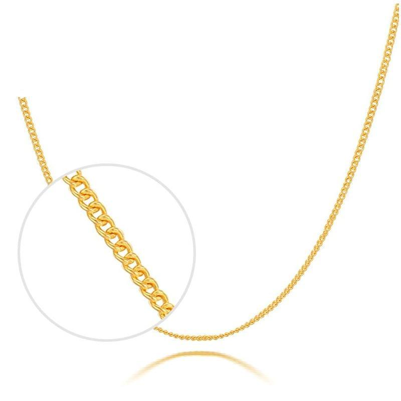 Solid Pure 999 24K Yellow Gold Necklace Women Curb Link Chain Necklace P6280 - jewelrycafee