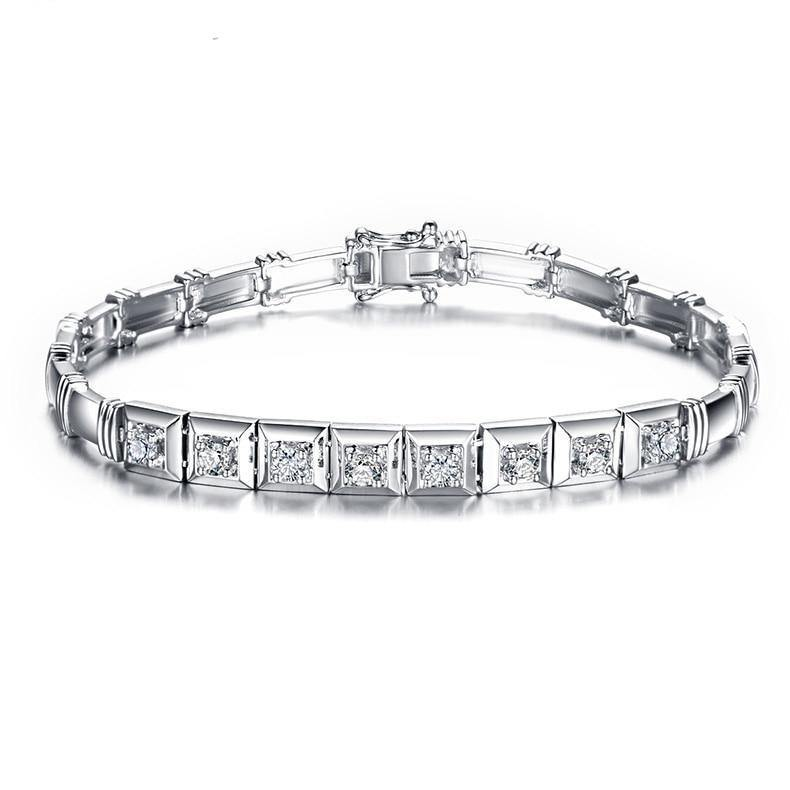 0.52 CT Certified Real Natural Round Cut Diamond 18K White Gold Bracelet S00392 - jewelrycafee