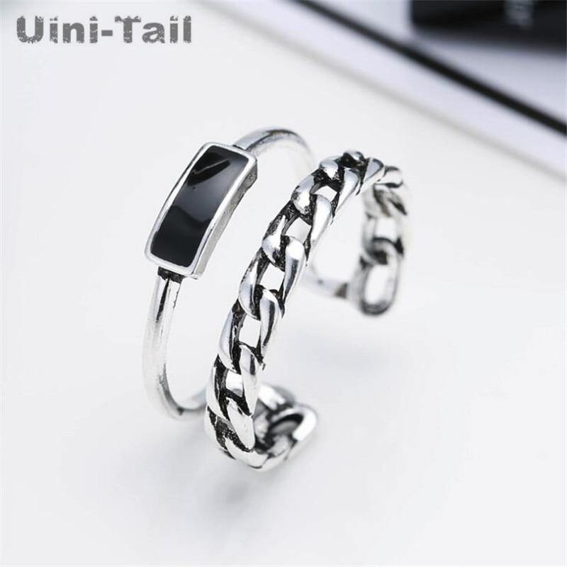 Uini-Tail classic hot sale 925 sterling silver geometric design double chain block open ring fashion tide flow high quality - jewelrycafee