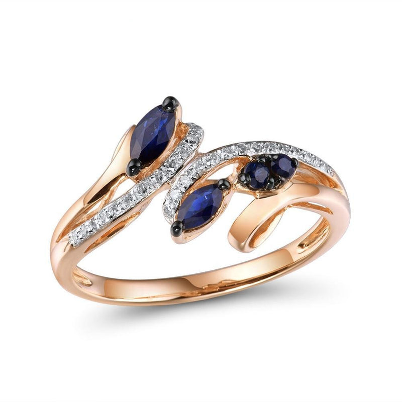 Gold Rings For Women Genuine 14K 585 Rose Gold Ring Sparkling Diamond Natural Blue Sapphire Luxury Trendy Fine Jewelry