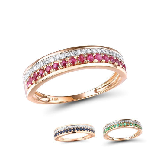 14K Rose Gold Rings For Lady Genuine Shiny Diamond Fancy Ruby Sapphire Emerald Engagement Anniversary Chic Fine Jewelry