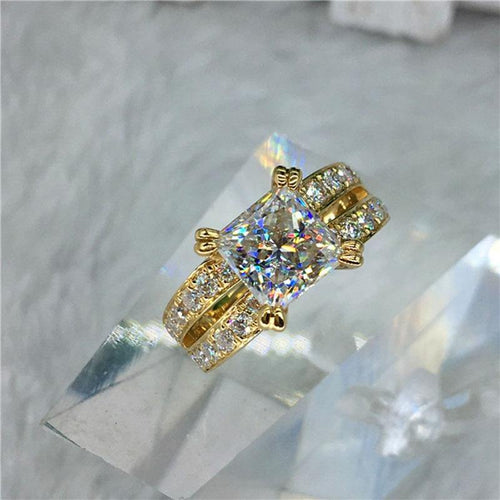 100% 18K Gold ring 2ct D color VVS Moissanite Diamond Ring Wedding ring With national certificate 006 - jewelrycafee