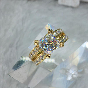 100% 18K Gold ring 2ct D color VVS Moissanite Diamond Ring Wedding ring With national certificate 006