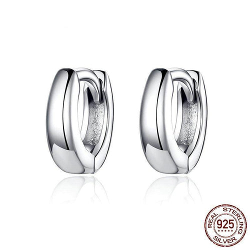 2019 New 925 Sterling Silver Polishing Tiny Circle Hoop Earrings for Women and Men Korean Style Fine Jewelry SCE552 - jewelrycafee
