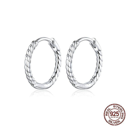 Minimalist  Design Hoop Earrings for Women 925 Sterling Silver Weaving Geometric Design Fashion Jewelry Bijoux SCE841