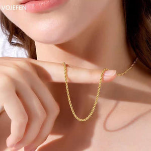 VOJEFEN AU750 Fine Jewelry 18k Real Gold Rope Chain Men Chain Necklace Women Yellow Gold Chains Necklace Real Gold Necklace - jewelrycafee