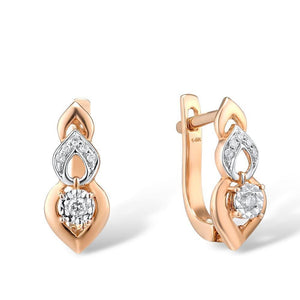 VISTOSO Pure 14K 585 Two-Tone Gold Sparkling Illusion-Set Miracle Plate Diamond Earrinings For Women Fashion Trendy Fine Jewelry - jewelrycafee