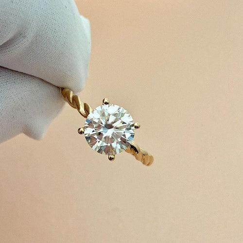 100% 18K Gold ring 1ct D color VVS Moissanite Diamond Ring Wedding ring With national certificate - jewelrycafee