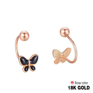 18k Rose Gold Women Stud Earrings Double Balls Fine  Wedding Jewelry Fashion Female Delicate Gift Hot Sale Trendy Party