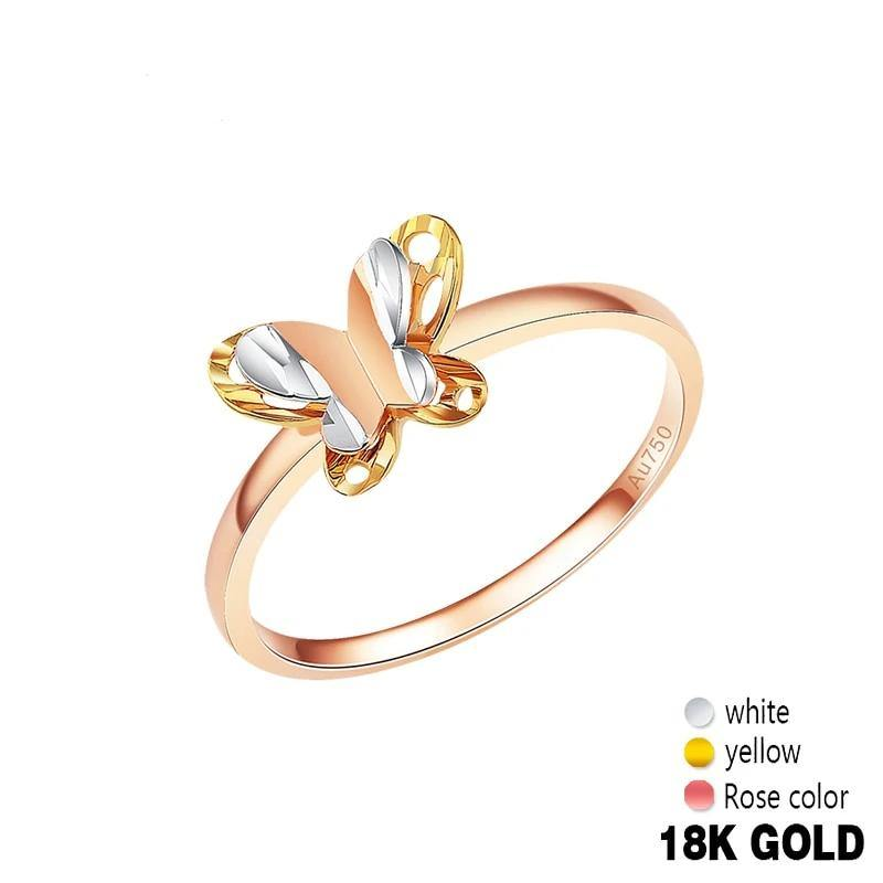 18K Gold Pure Gold Ring Real 18K Gold Solid Gold Rings Beautiful Upscale Trendy Classic Party Fine Jewelry Hot Sell New 2020 - jewelrycafee