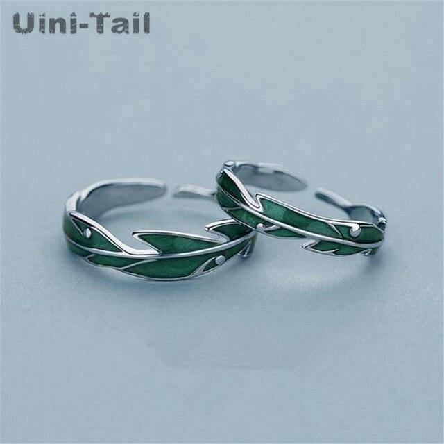 hot sale new 925 sterling silver green banana leaf couple ring niche design fashion personality sweet high quality