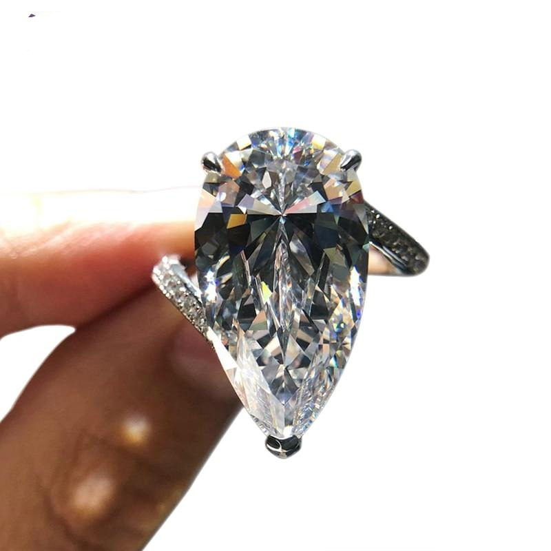 100% 925 Sterling Silver Super Luxury 12x22mm Pear-Shaped Cut High Carbon Diamond Ring Very Shiny Simulation Diamond Ring