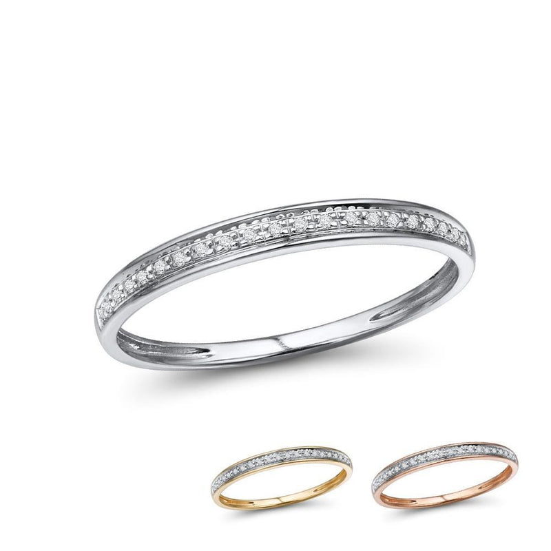 Genuine 14K White/Yellow/Rose Gold Rings For Lady Shiny Diamond Engagement Anniversary Simple Style Eternal Fine Jewelry
