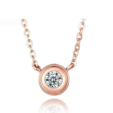 DOUBLE-R Genuine 18 K Rose Gold Engagement Necklaces Women Real Diamond Fine Jewelry Ladies Romantic Love gift CANL00274KA-3 - jewelrycafee