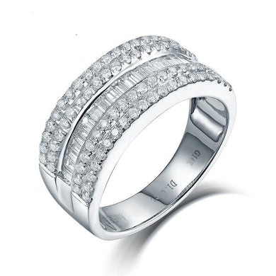 New Real 14K White Gold Round Baguette Diamond Wedding Ring Fine Jewelry for Wife Birthday Gift Charming Loving Rings - jewelrycafee