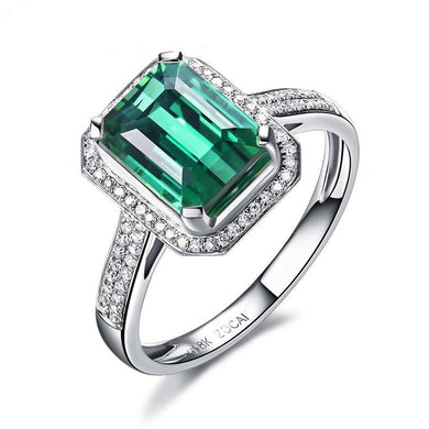 ZODIAC GEM FIRE SIGNS LEGEND NATURAL 2.0 CT GREEN TOURMALINE DIAMOND EMERALD COCKTAIL RING 18K WHITE GOLD - jewelrycafee