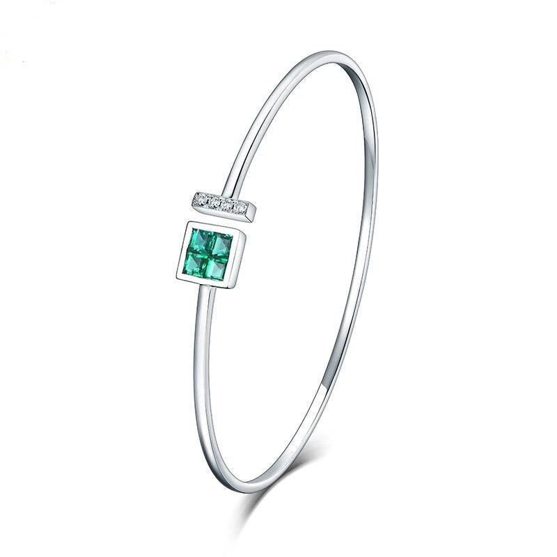 Wholesale Real 14K White Gold Natural Colombia Emerald  Bracelet Charming Bangle Diamond Jewelry For Women Anniversary Gift - jewelrycafee