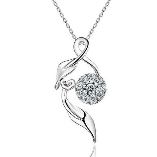Women's Pendant Fancy Design Female Jewelry 0.11ct H/SI Diamond Pendant  18K White Gold With Silver Chain CAP01690A