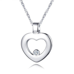 DOUBLE-R  Women 0.03ct Diamond Heart Pendants Female 925 Sterling Silver Necklaces Romantic Gift Genuine Jewelry CAP03745SA-1 - jewelrycafee