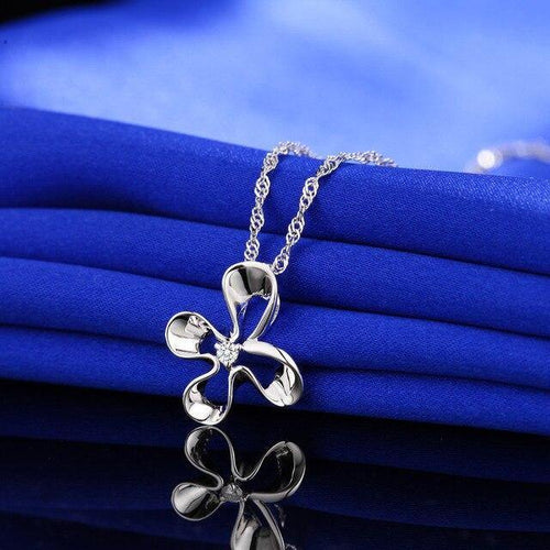 Flower Pendants Women 0.03ct Diamond 925 Silver Plant Pendants Romantic Gift Diamond Jewelry Customized CAP03763SA-1 - jewelrycafee