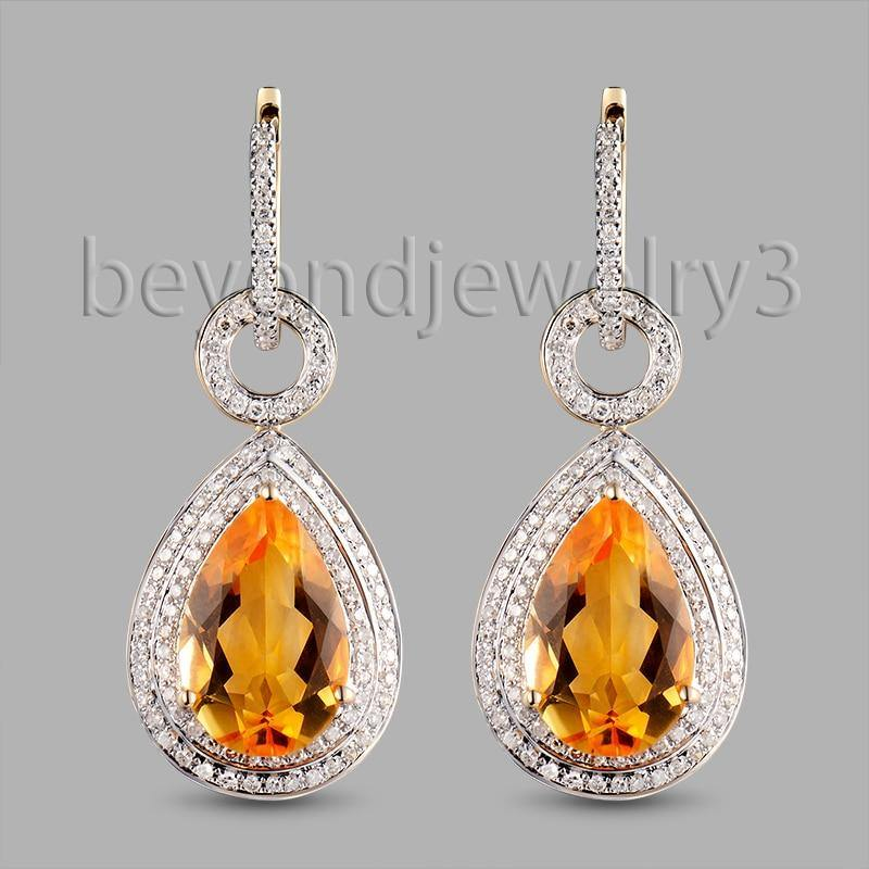 Fine Girl Natural Citrine Earring Drop Pear 10x14mm Solid 14kt  Yellow Gold Citrine Jewelry E002 - jewelrycafee