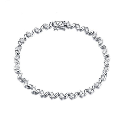 Real Natural 1.0 CT Diamond Certified I-J / SI with 18K White Gold (AU750) Bracelet S00655 - jewelrycafee