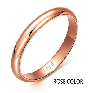 18K gold rose white party jewelry lovers couple rings female male Smooth ring Tail ring  Lettering free Supportdrop shipping - jewelrycafee