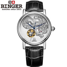 Load image into Gallery viewer, 3D Hand Relief Design BINGER Men Automatic Self-wind Famous Brand Fashion Luxury Watch Leather Strap Mechanical Wristwatches - jewelrycafee