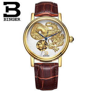 3D Hand Relief Design BINGER Men Automatic Self-wind Famous Brand Fashion Luxury Watch Leather Strap Mechanical Wristwatches - jewelrycafee