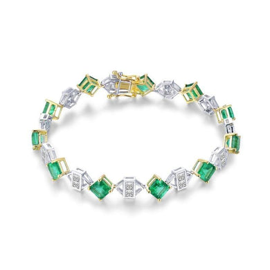 Luxury Design Promised Jewelry Solid 18K Two Tone Gold Princess Genuine Emerald Diamond Bracelet for Women Loving Gift - jewelrycafee