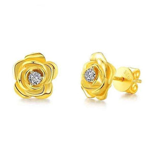 Genuine Natural Diamond 14k 585 Yellow Gold Stud Earrings For Women Rose Flower Fine Jewelry - jewelrycafee