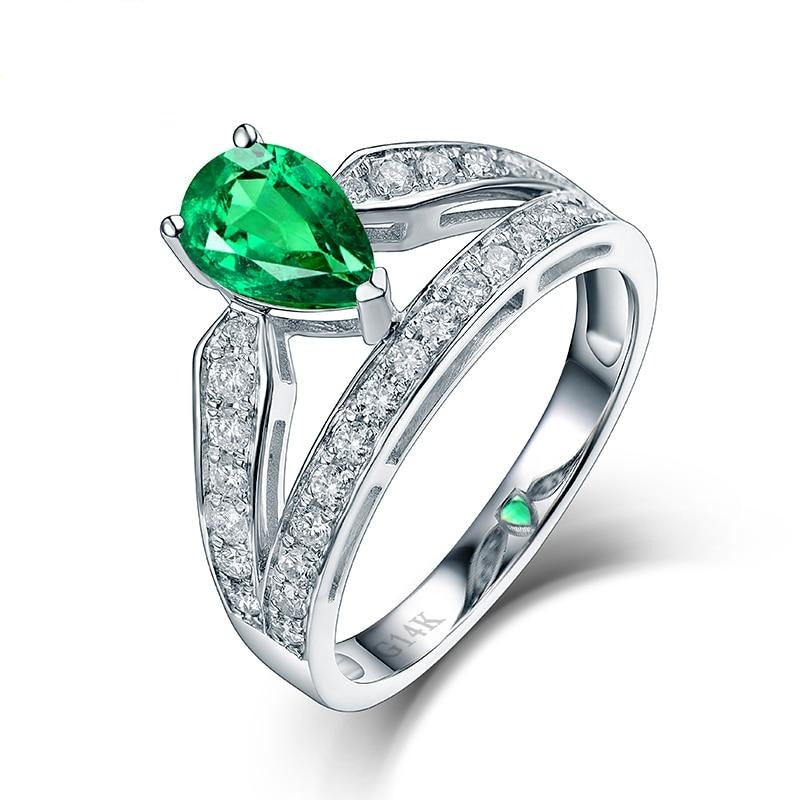 Pretty Design 14K White Gold Natural Colombia Emerald Ring Charming Diamond for Women Wedding Fine Jewelry Wholesale - jewelrycafee