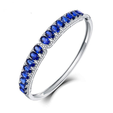 Real 18Kt Au750 White Gold Natural Blue Sapphire Bangle Good Quality Gemstone Bling Diamond Jewelry for Women Wedding - jewelrycafee