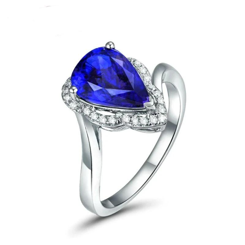 Unique Design Fine Jewelry 2.73ct Solid 14k White Gold Natural Blue Pear Tanzanite  Gemstone Diamond Wedding Ring - jewelrycafee