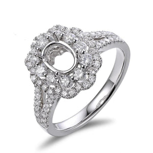 5x7mm Oval Cut Semi Mount Setting Ring 18K White gold Natural 0.93ct Diamond Engagement Jewelry - jewelrycafee
