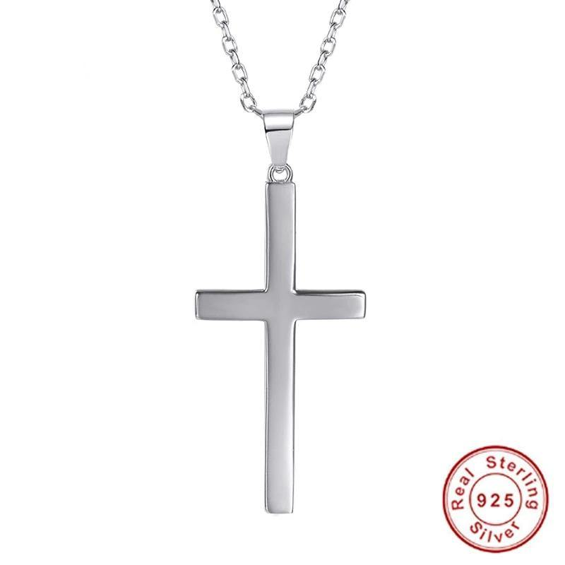 100% 925 Sterling Silver Cross Pendant & Chain Minimalist Necklace Christmas Gift for Women Men Silver Christian Jewelry SC13 - jewelrycafee
