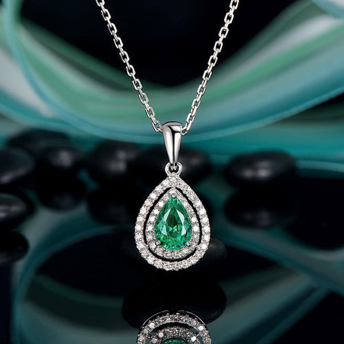 14K White Gold 0.81ct Natural Emerald & 0.24ct Diamond Pendant Free Shipping - jewelrycafee