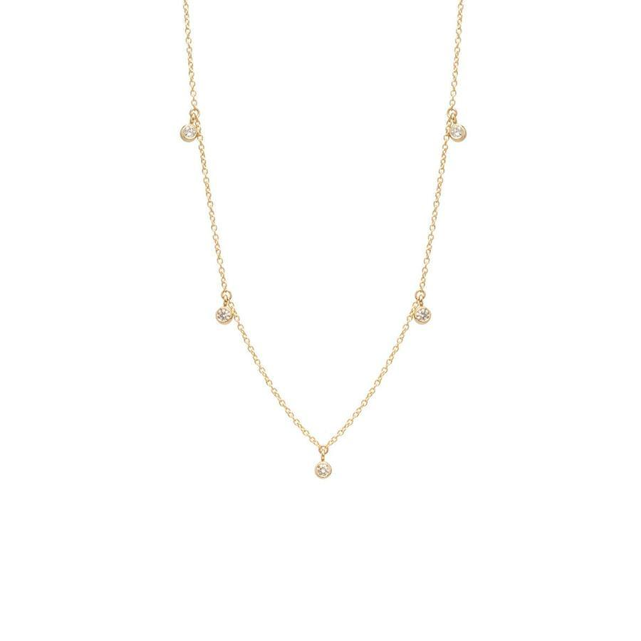 14K Yellow White Gold DF Color 5pcs 4.0mm Moissanite Pendant With 14K Gold Chain Necklace For Women in Fine Jewelry - jewelrycafee