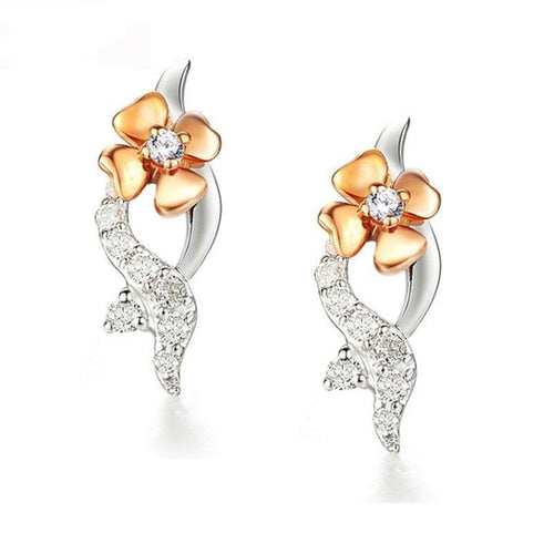 Flower 18K Gold earrings Romantic Ladies Bridal Wedding Real Diamond Earrings For Women Gift CAE00555A Joias Ouro 18k - jewelrycafee