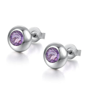 DOUBLE-R Natural Amethyst Gemstone Earrings Silver 925  Stud Earrings Vintage Round Earring CASE00698D - jewelrycafee
